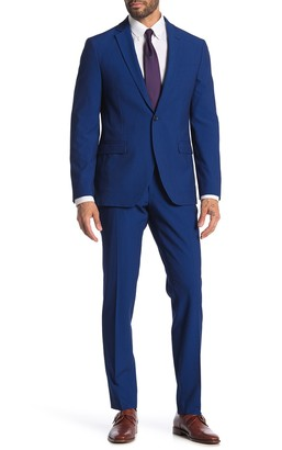 Savile Row Co Pearson Blue Seersucker One Button Notch Lapel Skinny Fit Suit