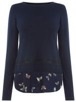 "Oasis Forest Bird & Lace Top [span class=""variation_color_heading""]- Navy[/span]"