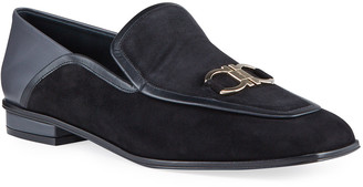 Salvatore Ferragamo Cesaro Mixed Leather Gancini Loafers