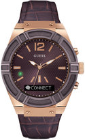 GUESS Men's Analog-Digital Connect Brown Leather Strap Smartwatch 45mm C0001G2