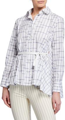Palmer Harding Pointed Draped-Back Printed Button-Up Shirt