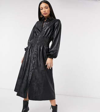 Asos Tall ASOS DESIGN Tall leather-look midi shirt dress with shirred waist in black