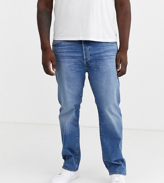 Levi's Big & Tall 501 original straight fit standard rise jeans in ironwood overt light wash-Blue
