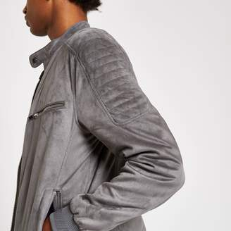 River Island Mens Grey faux suede racer jacket