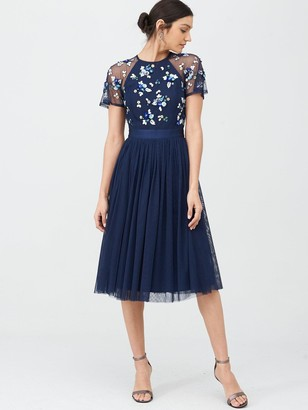 Very Embellished Tulle Bridesmaid Prom Dress - Navy