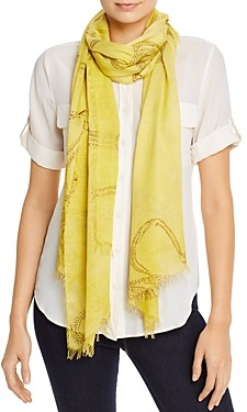 Eileen Fisher Abstract Print Fringed Scarf