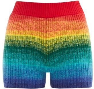 The Elder Statesman Morph Striped Ribbed-cashmere Cycling Shorts - Multi