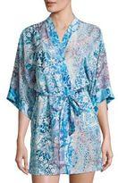 In Bloom Aq Flora-Print Lawn Wrap Robe
