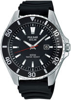 Pulsar On the Go Mens Black Silicone Strap Solar Watch PX3037