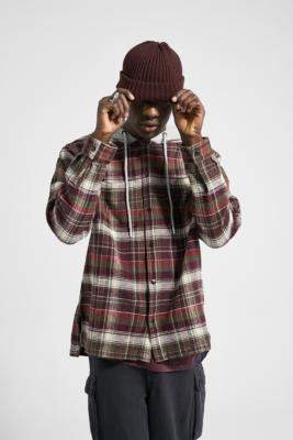 Urban Outfitters Red Checked Waffle Long-Sleeve Hooded Shirt Jacket - red S at