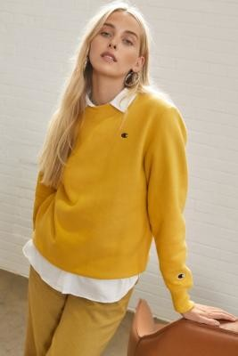 Champion Yellow Crew Neck Sweatshirt - Yellow XS at Urban Outfitters