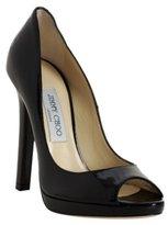 black patent 'Proud' peep toe pumps