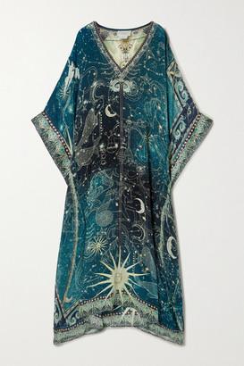 Camilla Crystal-embellished Printed Silk Crepe De Chine Kaftan - Teal