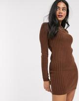 Brave Soul mando sweater dress in brown