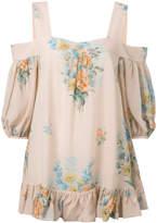 Alexander McQueen cold shoulder floral blouse