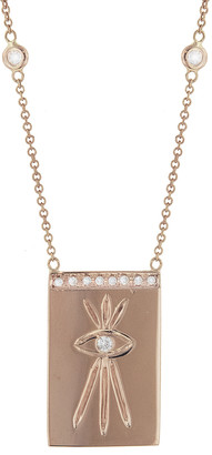 Jacquie Aiche Diamond Engraved Evil Eye Bar Necklace - Rose Gold