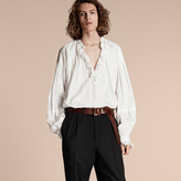 Burberry Ruffle-trimmed Cotton Voile Tunic Shirt