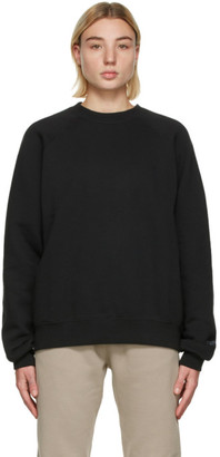 Essentials Black Fleece Pullover Sweatshirt