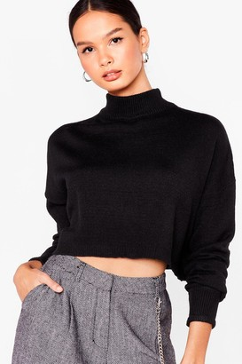 Nasty Gal Womens Ain't No Croppin' Us Knitted High Neck Sweater - Black