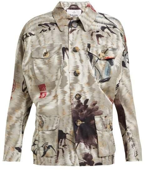 Vivienne Westwood Archival Satin Jacquard Jacket - Womens - Grey Multi
