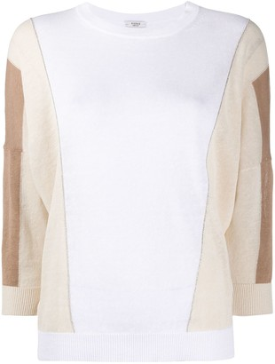 Peserico Colour Block Cropped Sleeve Jumper
