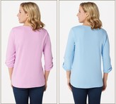 Factory Quacker Set of Two Knit T-Shirts with Faux Pearl Detail