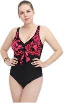Wellwits Women's Plus Size Floral Plunge V Neck One Piece Swimsuit 4XL