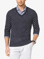 Michael Kors Diamond-Print Linen And Cotton V-Neck Sweater