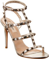 Valentino Rockstud Caged 100 Metallic Leather Ankle Strap Sandal