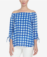CeCe Off-The-Shoulder Plaid Top