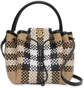 Burberry Leather Woven Check TB Bucket Bag
