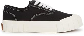 Good News Ace black woven canvas flatform sneakers