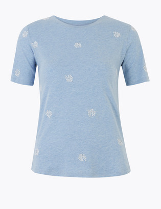 Marks and Spencer Cotton Rich Embroidered T-Shirt