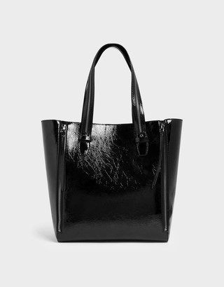 Charles & KeithCharles & Keith Wrinkled Patent Double Zip Long Handle Tote Bag