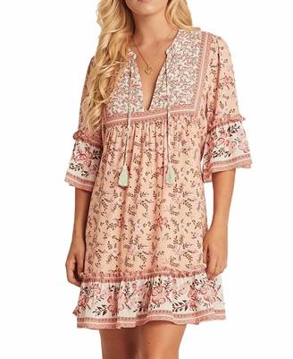 R.Vivimos Women's Boho Floral Print Mini Dress Bell Sleeve Ruffles Front Tie Causal Short Dress (Large
