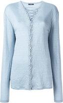 Balmain crossed lace top - women - Linen/Flax - 38