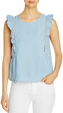 Design History Ruffled Chambray Top