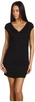 Love Moschino Cap Sleeve Dress With Cowl Neckline (Black) - Apparel
