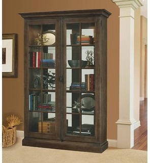 Howard Miller Clawson Farmhouse Chic, Country Cottage, Rustic, Medium Brown Wood, Tall 5-Shelf, Living Room Curio Cabinet