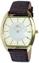 Adee Kaye AK2200 Men's Slim Tonneau Framework Watch-Gold tone/Gold white dial