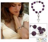 Sterling Silver Cross Amethyst Beaded Rosary Bracelet, 'Prayer'