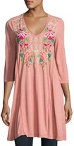 Johnny Was 3/4-Sleeve Draped T-Shirt Tunic, Pink