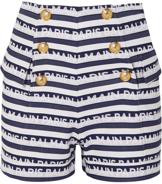 Balmain Button-embellished Striped Cotton-twill Shorts - Navy