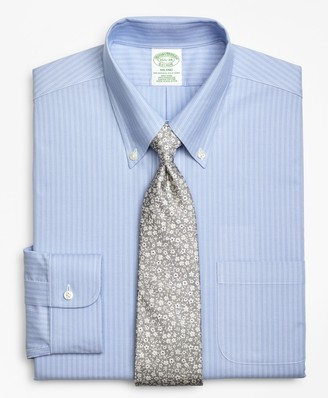 Brooks Brothers BrooksCool Milano Slim-Fit Dress Shirt, Non-Iron Ground Double-Stripe