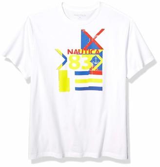 Nautica Men's Short Sleeve Crew Neck Regatta 83 Series 100% Cotton T-Shirt