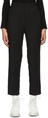 Issey Miyake Black Pleated Tuxedo Trousers