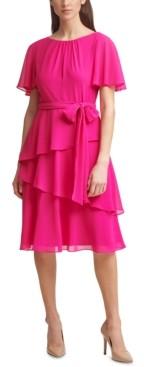 Jessica Howard Petite Tiered-Hem Midi Dress