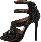 Tabitha Simmons Bailey Double Ankle Wrap Crystal-Embellished High Heel