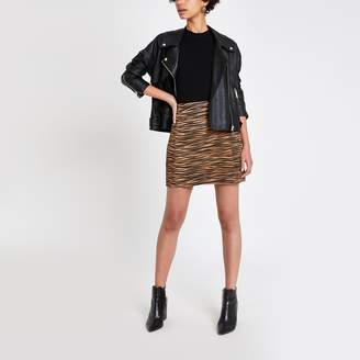 River Island Womens Brown suede tiger print mini skirt