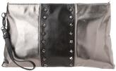 Franchi La Sera Metallic Bi-Color Clutch (Pewter/Black) - Bags and Luggage